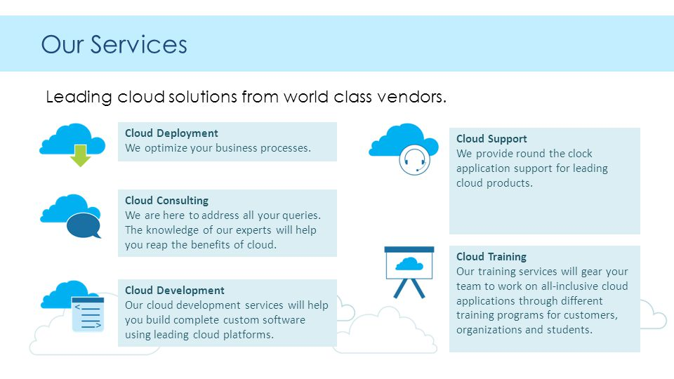 Our Services Leading cloud solutions from world class vendors.