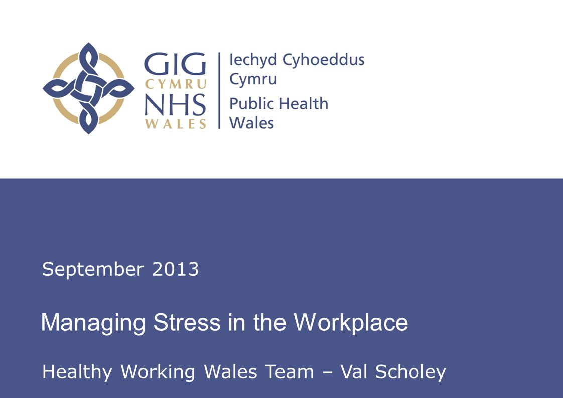 Insert name of presentation on Master Slide Managing Stress in the Workplace September 2013 Healthy Working Wales Team – Val Scholey