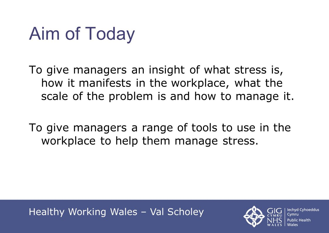 Managing Stress @ Work Don't hide from it or ignore it.