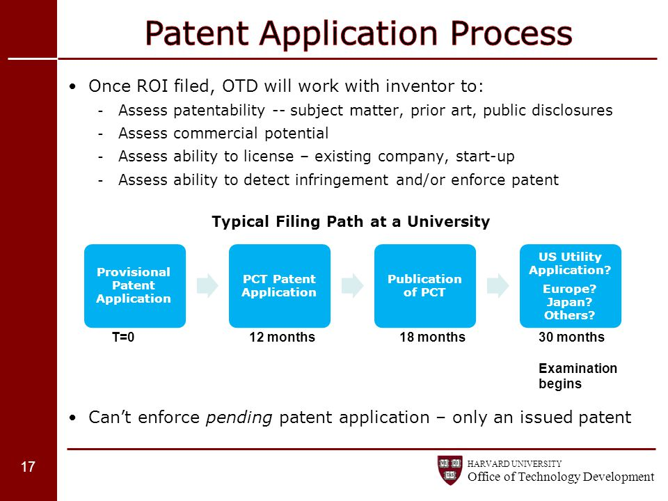 HARVARD UNIVERSITY Office of Technology Development Once ROI filed, OTD will work with inventor to: - Assess patentability -- subject matter, prior ar