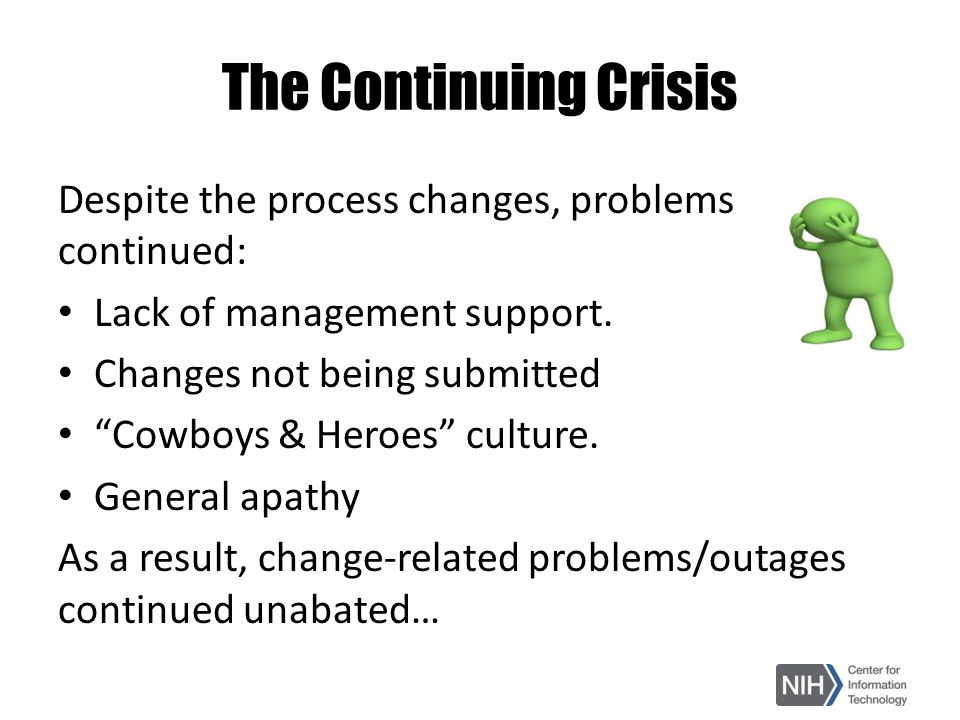 "The Continuing Crisis Despite the process changes, problems continued: Lack of management support. Changes not being submitted ""Cowboys & Heroes"" cult"