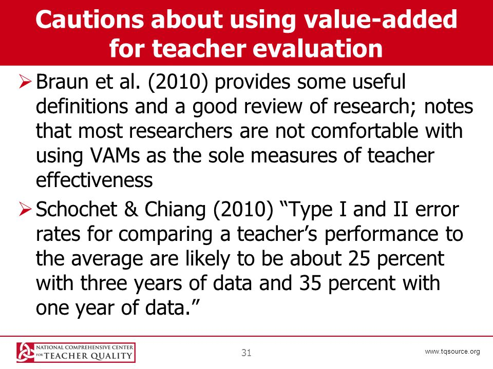 www.tqsource.org Cautions about using value-added for teacher evaluation  Braun et al.