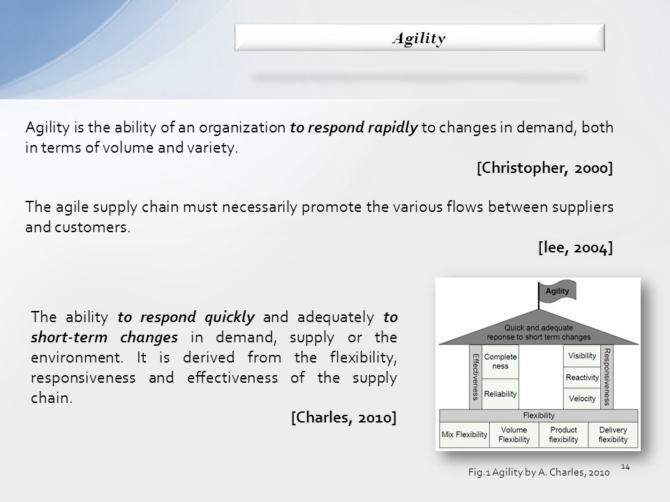 Agility is the ability of an organization to respond rapidly to changes in demand, both in terms of volume and variety.