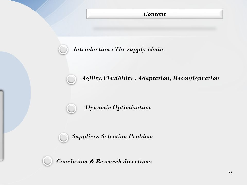 Introduction : The supply chain Dynamic Optimization Agility, Flexibility, Adaptation, Reconfiguration Suppliers Selection Problem Conclusion & Research directions 24