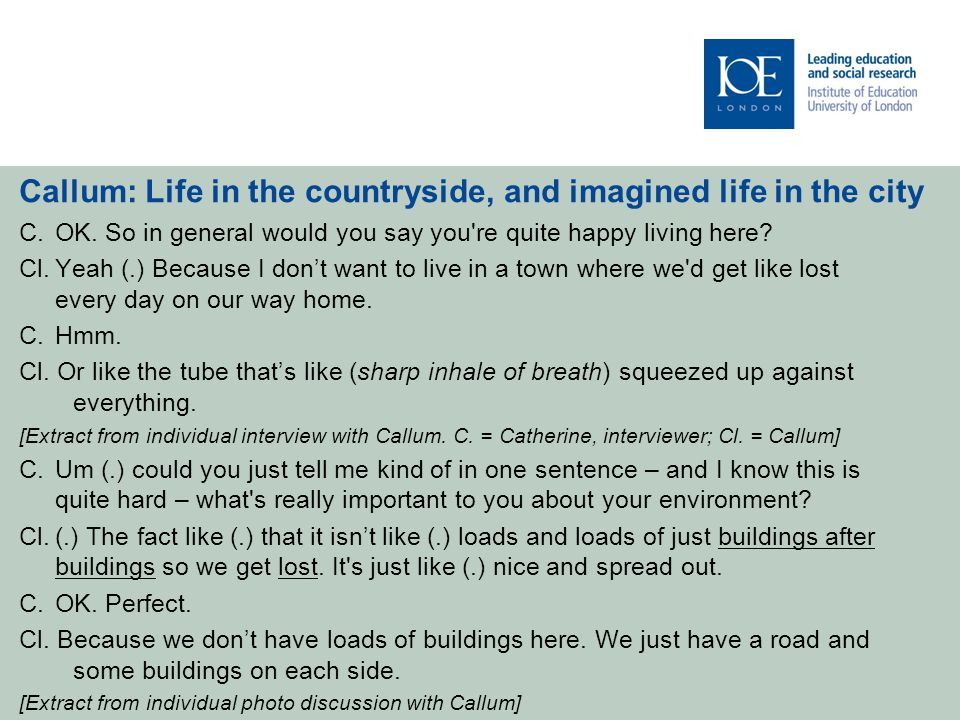 Callum: Life in the countryside, and imagined life in the city C.OK.