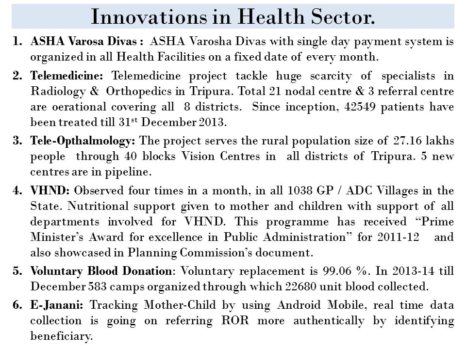 Innovations in Health Sector.