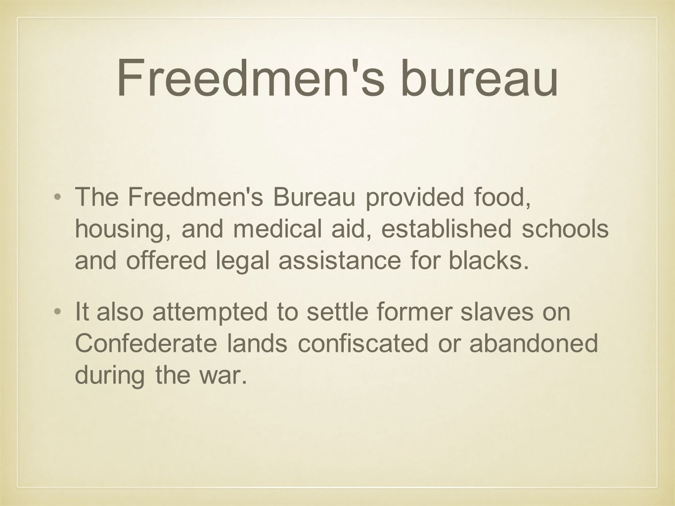 Congress introduces bills In 1866, Congress introduced a bill to extend the life of the Freedmen s Bureau and began work on a Civil Rights Bill.