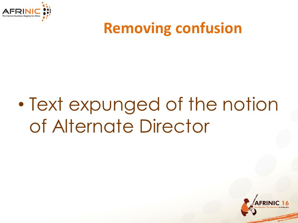 Removing confusion Text expunged of the notion of Alternate Director