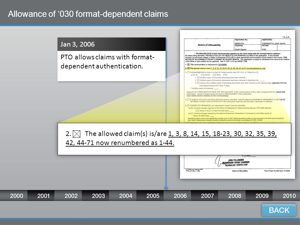 12 Allowance of '030 format-dependent claims Jan 3, 2006 PTO allows claims with format- dependent authentication.