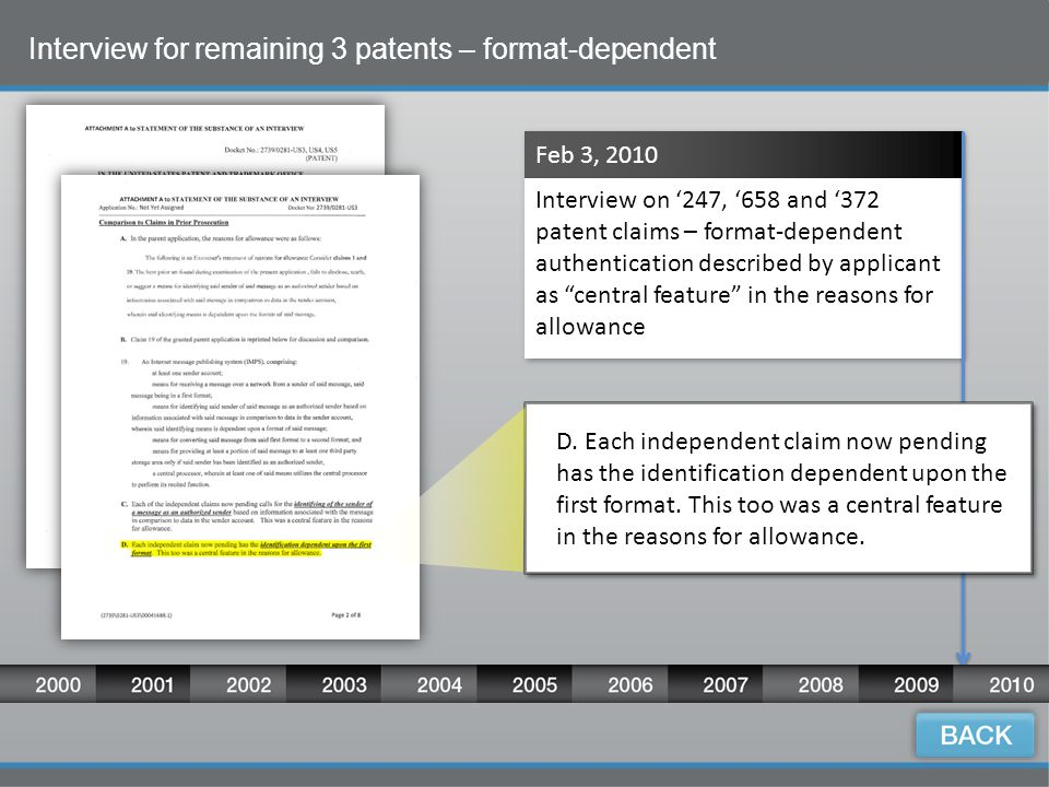 14 Interview for remaining 3 patents – format-dependent Feb 3, 2010 Interview on '247, '658 and '372 patent claims – format-dependent authentication described by applicant as central feature in the reasons for allowance D.
