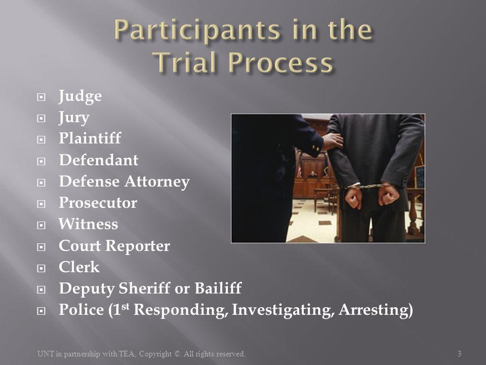  Judge  Jury  Plaintiff  Defendant  Defense Attorney  Prosecutor  Witness  Court Reporter  Clerk  Deputy Sheriff or Bailiff  Police (1 st R