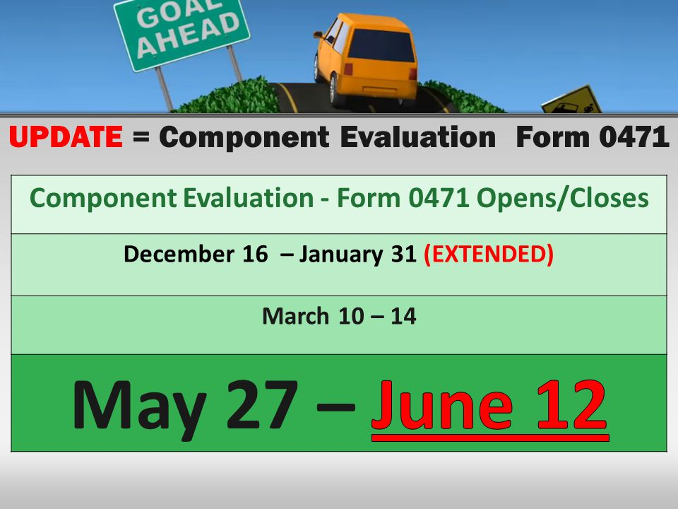 UPDATE = Component Evaluation Form 0471 Component Evaluation - Form 0471 Opens/Closes December 16 – January 31 (EXTENDED) March 10 – 14