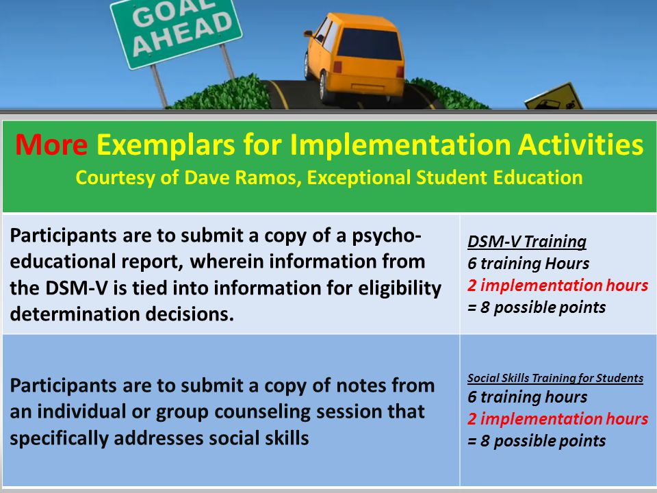 7 Core Policies More Exemplars for Implementation Activities Courtesy of Dave Ramos, Exceptional Student Education Participants are to submit a copy of a psycho- educational report, wherein information from the DSM-V is tied into information for eligibility determination decisions.