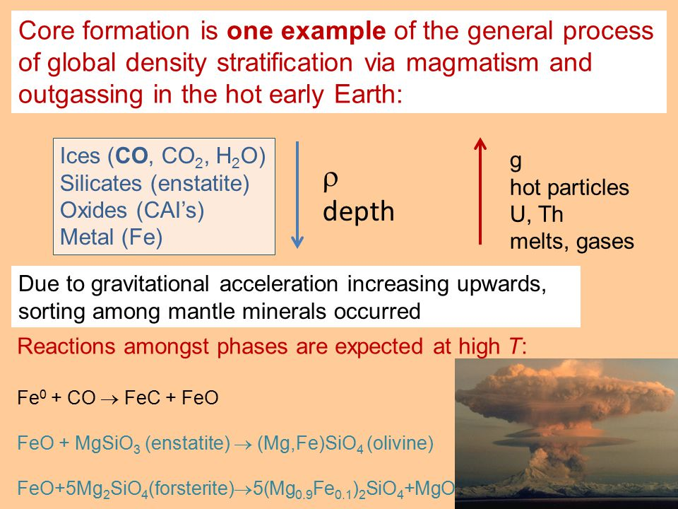 Reactions amongst phases are expected at high T: Fe 0 + CO  FeC + FeO FeO + MgSiO 3 (enstatite)  (Mg,Fe)SiO 4 (olivine) FeO+5Mg 2 SiO 4 (forsterite)