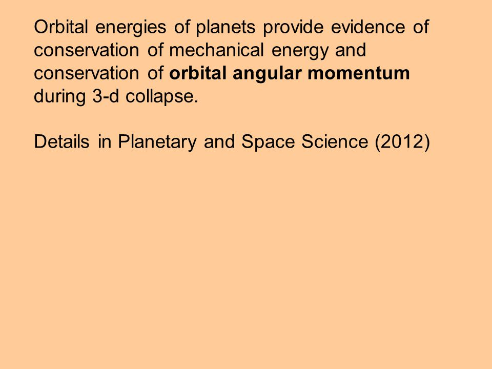 Orbital energies of planets provide evidence of conservation of mechanical energy and conservation of orbital angular momentum during 3-d collapse. De