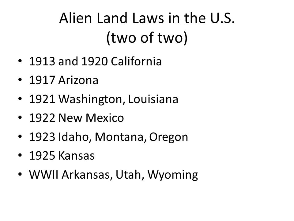 Alien Land Laws in the U.S.