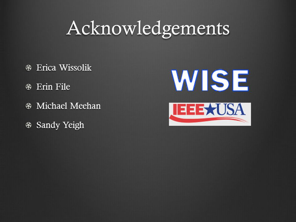 Acknowledgements Erica Wissolik Erin File Michael Meehan Sandy Yeigh