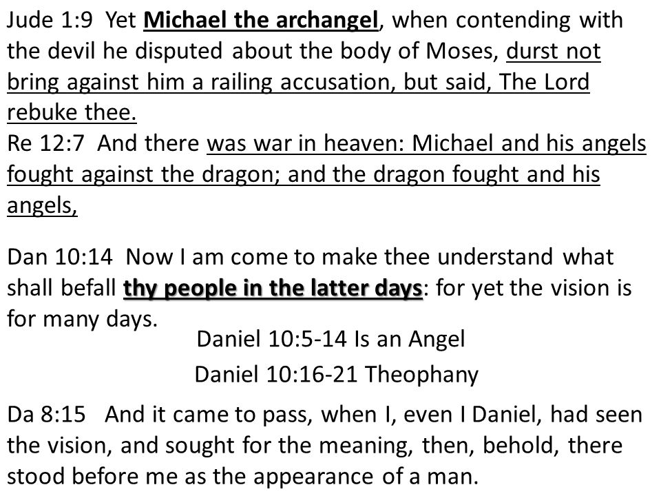 Jude 1:9 Yet Michael the archangel, when contending with the devil he disputed about the body of Moses, durst not bring against him a railing accusation, but said, The Lord rebuke thee.