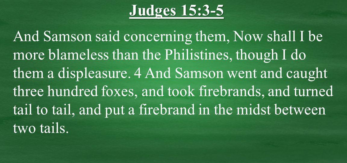 And Samson said concerning them, Now shall I be more blameless than the Philistines, though I do them a displeasure.