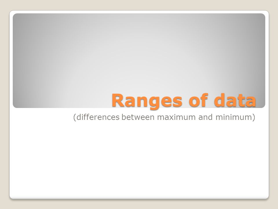 Ranges of data (differences between maximum and minimum)
