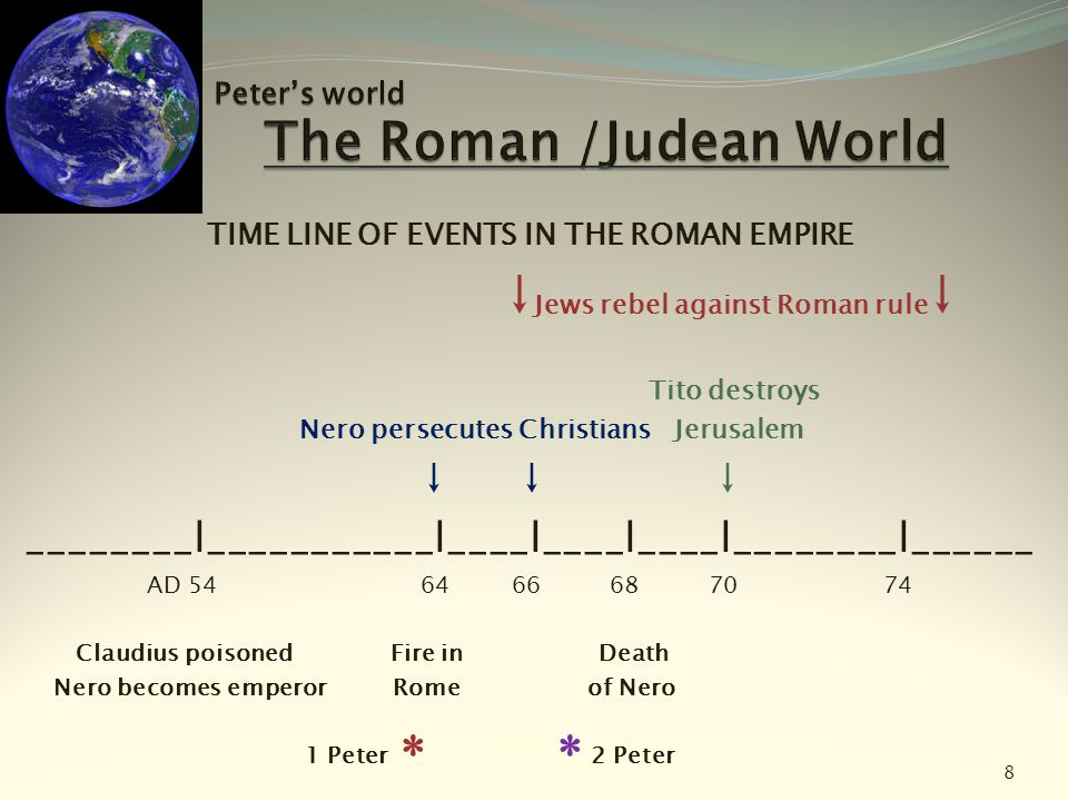 TIME LINE OF EVENTS IN THE ROMAN EMPIRE ↓ Jews rebel against Roman rule ↓ Tito destroys Nero persecutes Christians Jerusalem ↓ ↓ ↓ ________l__________