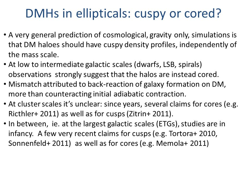 DMHs in ellipticals: cuspy or cored.