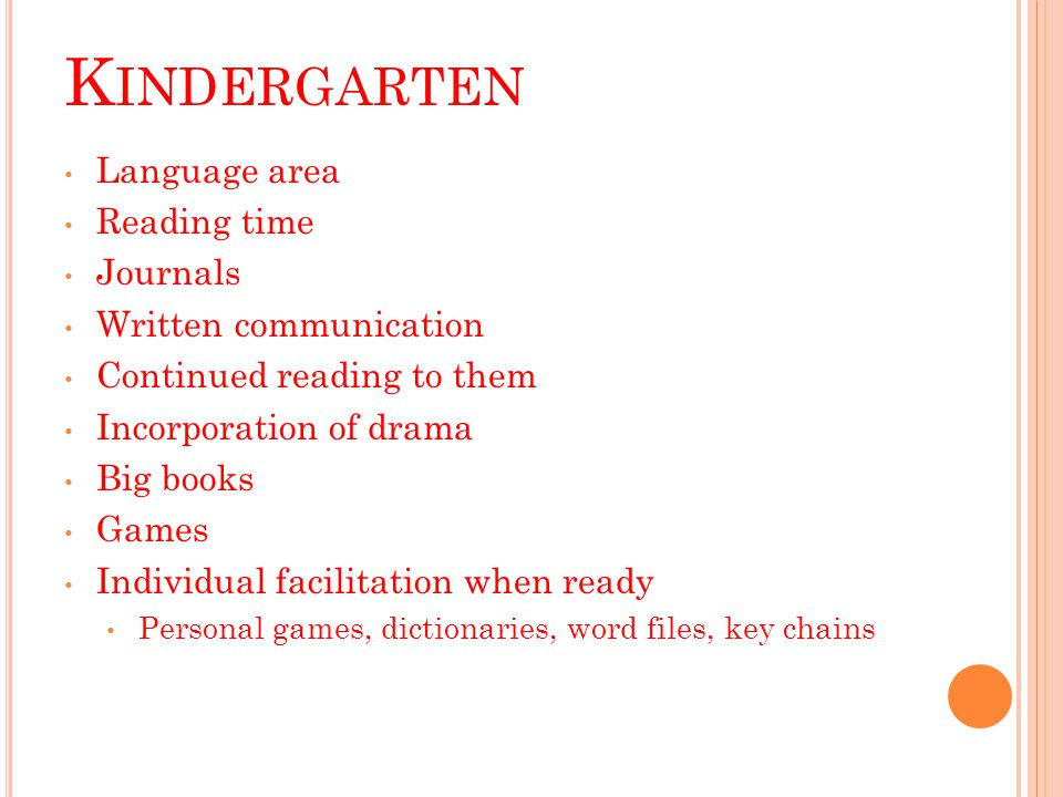 K INDERGARTEN Language area Reading time Journals Written communication Continued reading to them Incorporation of drama Big books Games Individual facilitation when ready Personal games, dictionaries, word files, key chains