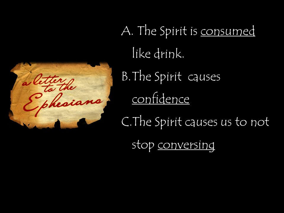 A. The Spirit is consumed like drink.