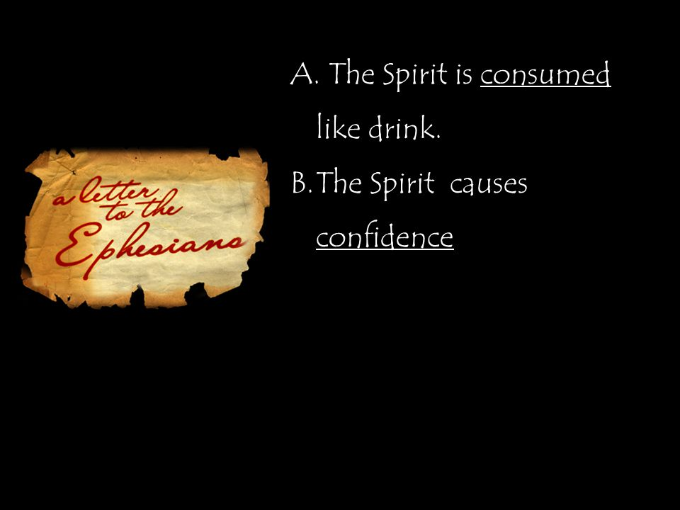 A. The Spirit is consumed like drink. B.The Spirit causes confidence