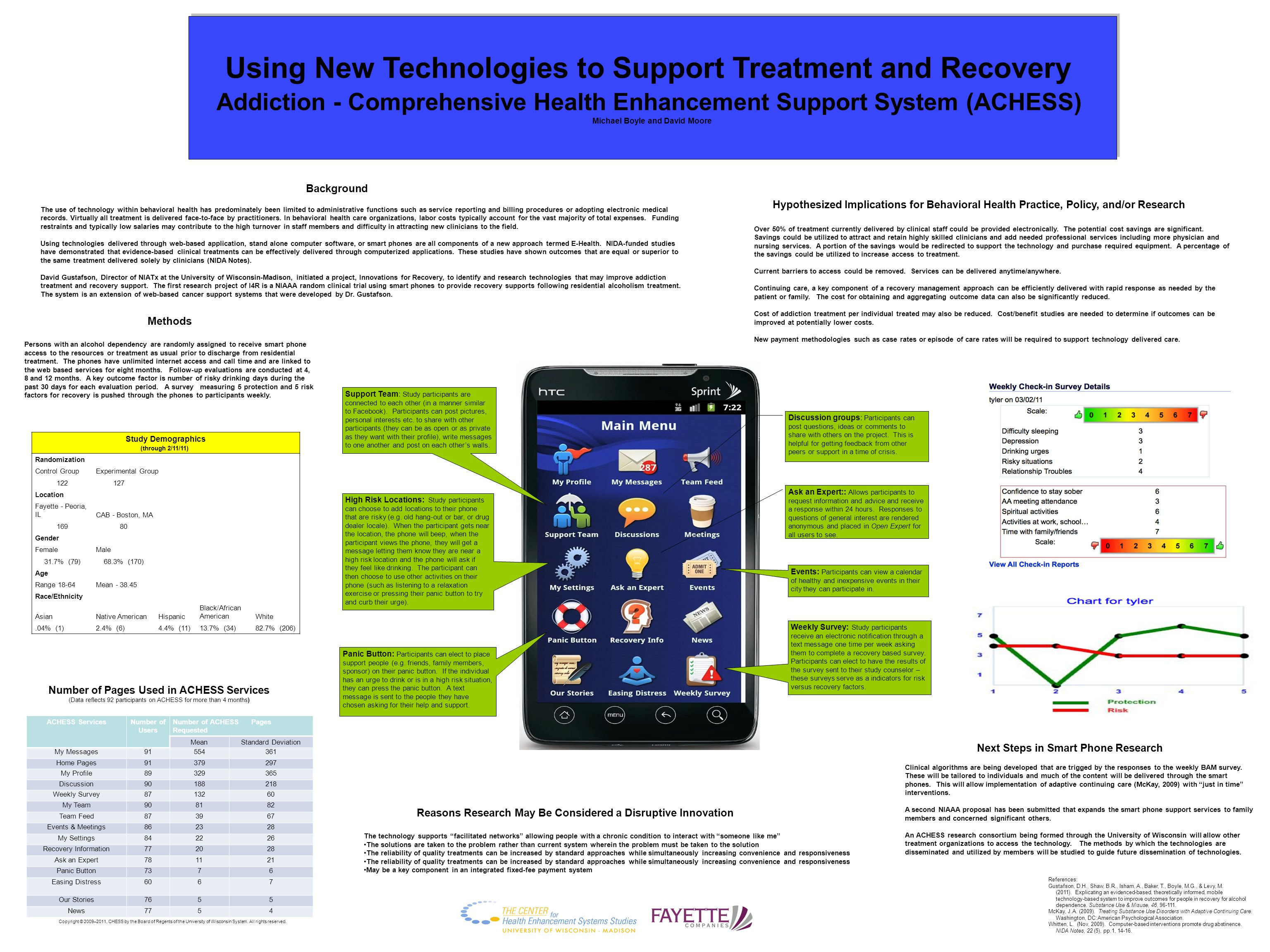 Using New Technologies to Support Treatment and Recovery Addiction - Comprehensive Health Enhancement Support System (ACHESS) Michael Boyle and David Moore Using New Technologies to Support Treatment and Recovery Addiction - Comprehensive Health Enhancement Support System (ACHESS) Michael Boyle and David Moore The use of technology within behavioral health has predominately been limited to administrative functions such as service reporting and billing procedures or adopting electronic medical records.