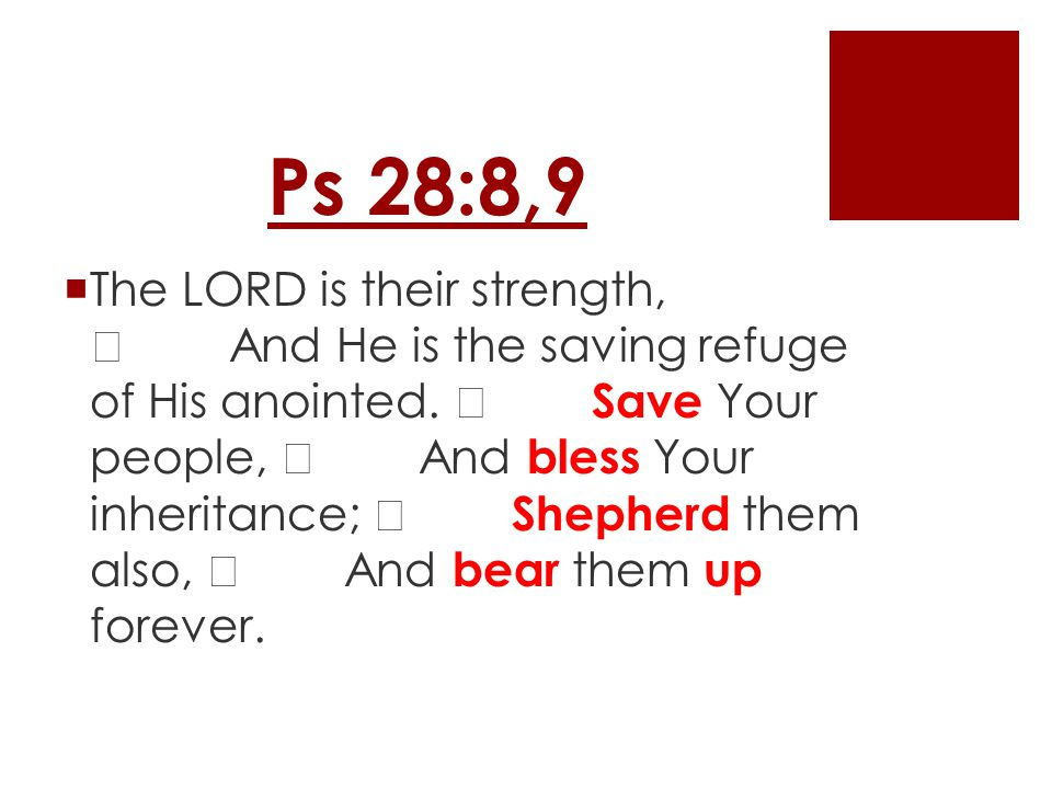 Ps 28:8,9  The LORD is their strength, And He is the saving refuge of His anointed.