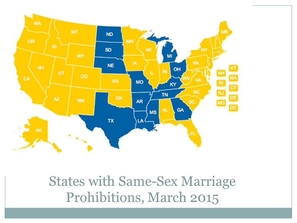 States with Same-Sex Marriage Prohibitions, March 2015