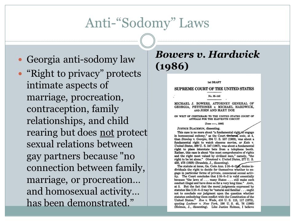 """Anti-""""Sodomy"""" Laws Georgia anti-sodomy law """"Right to privacy"""" protects intimate aspects of marriage, procreation, contraception, family relationships,"""