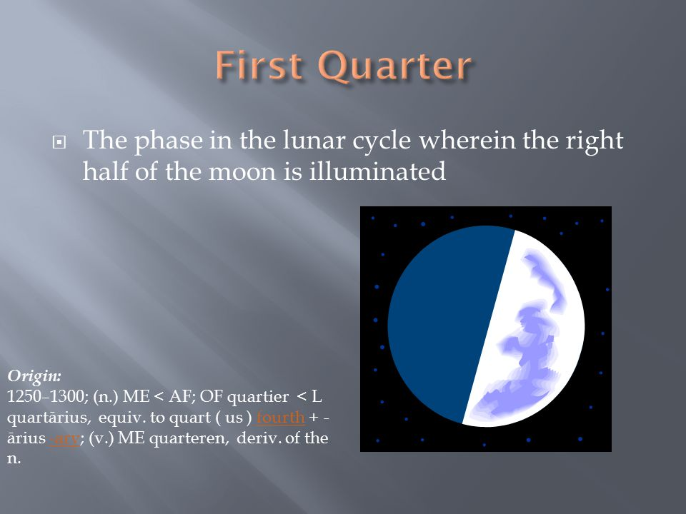  The phase in the lunar cycle wherein the right half of the moon is illuminated Origin: 1250–1300; (n.) ME < AF; OF quartier < L quartārius, equiv.