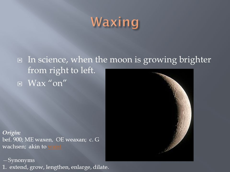  In science, when the moon is growing brighter from right to left.