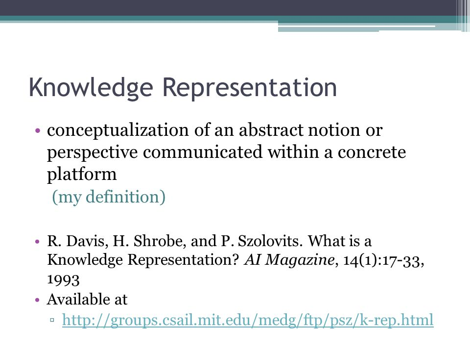 Knowledge Representation conceptualization of an abstract notion or perspective communicated within a concrete platform (my definition) R.