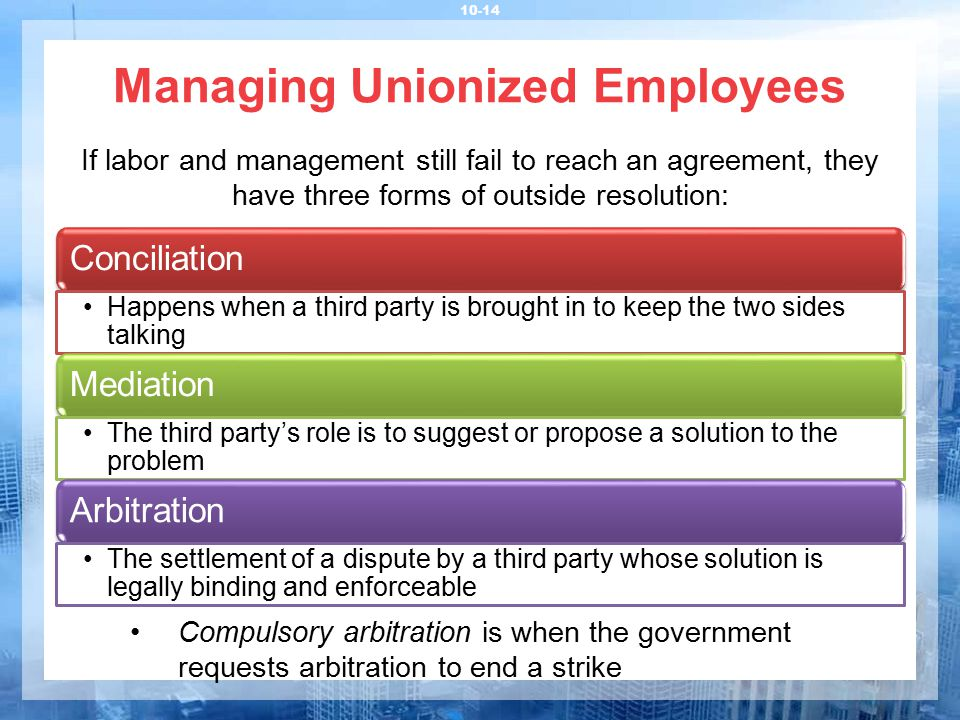Managing Unionized Employees 10-14 If labor and management still fail to reach an agreement, they have three forms of outside resolution: Conciliation