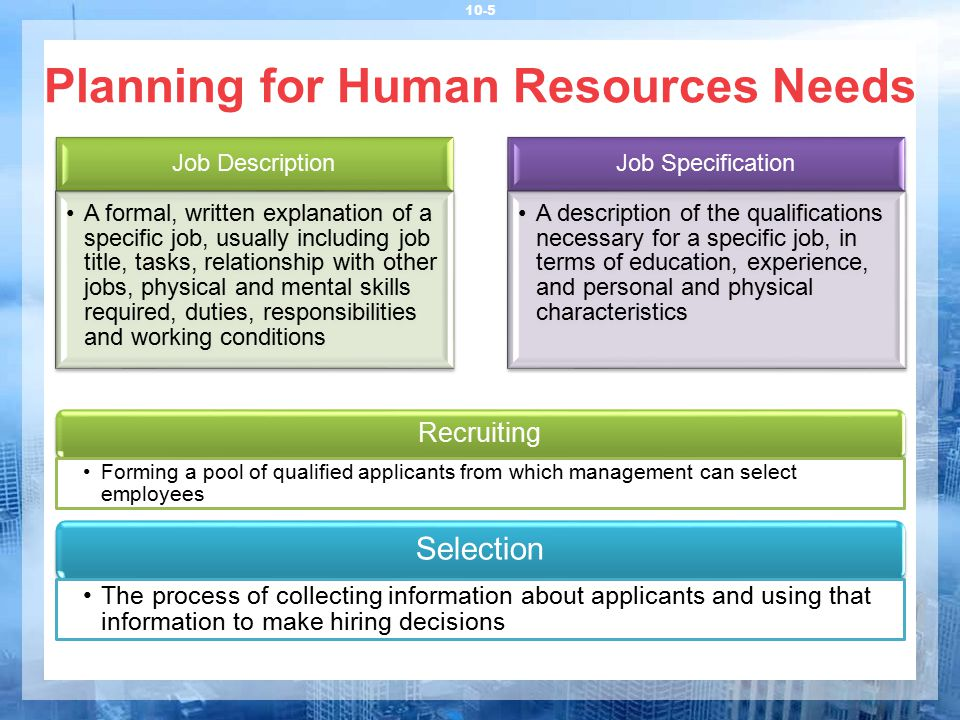 Planning for Human Resources Needs 10-5 Job Description A formal, written explanation of a specific job, usually including job title, tasks, relations