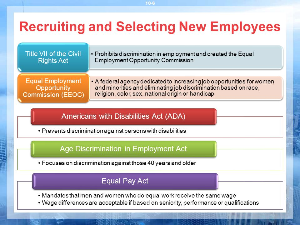 Recruiting and Selecting New Employees 10-6 Prevents discrimination against persons with disabilities Americans with Disabilities Act (ADA) Focuses on