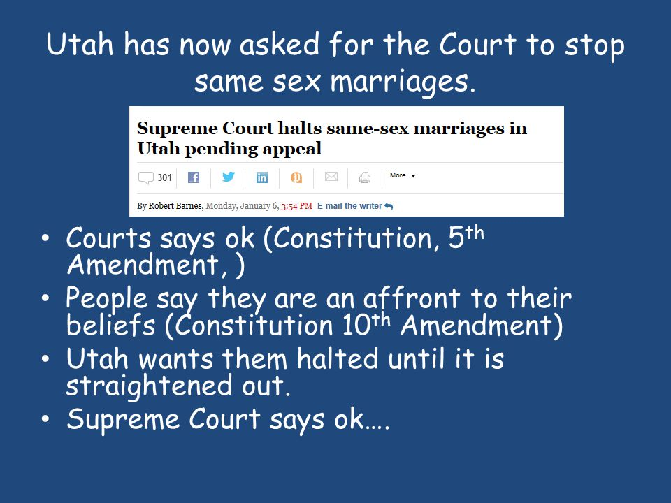 Case 1: – Uphold/overturn California's Proposition 8 which bans marriage between same sex couples Case 2 – Uphold/overturn the Defense of Marriage Act