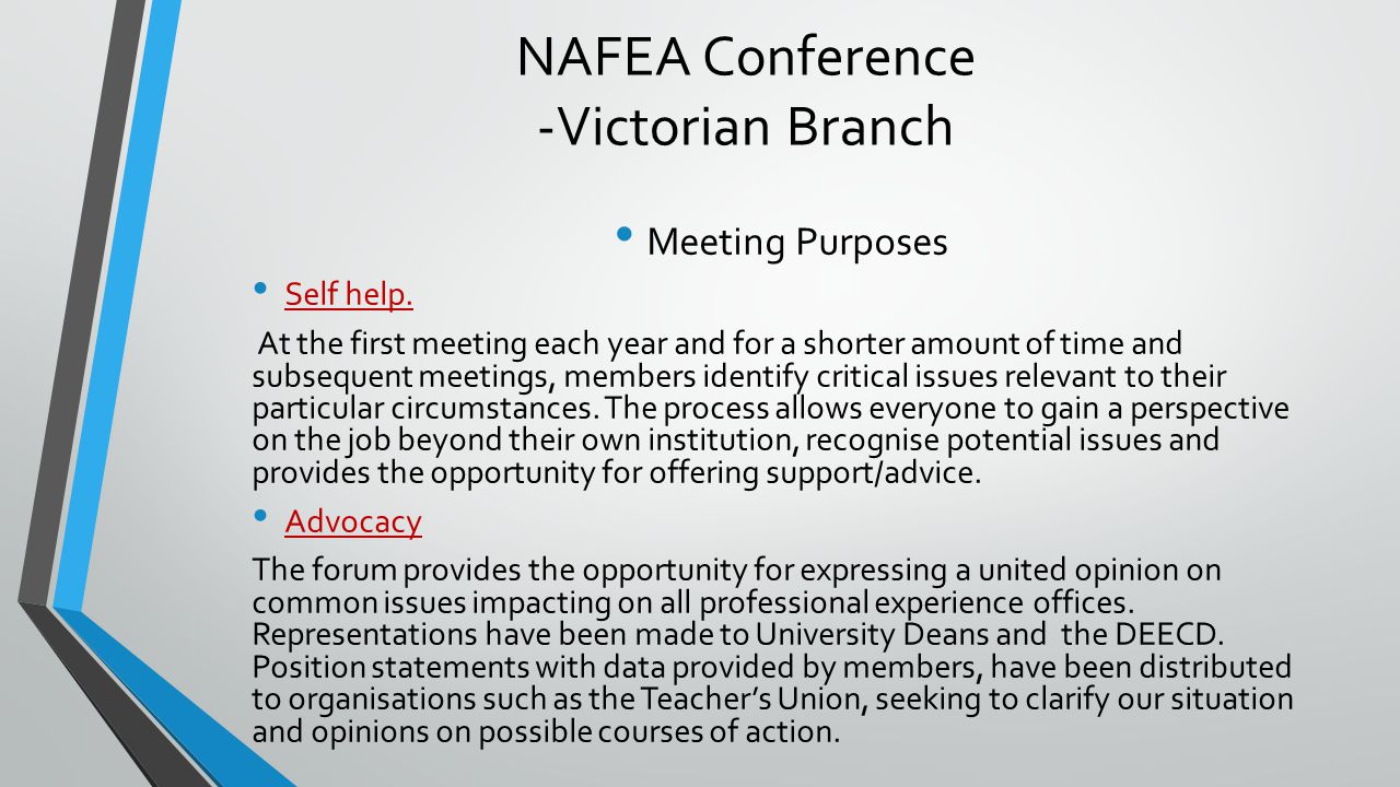 NAFEA Conference -Victorian Branch Meeting Purposes Self help.