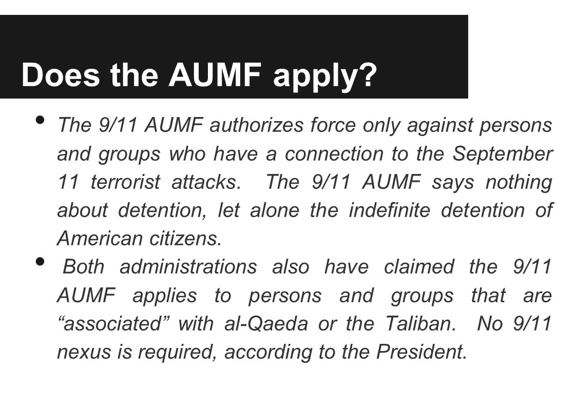 Does the AUMF apply.
