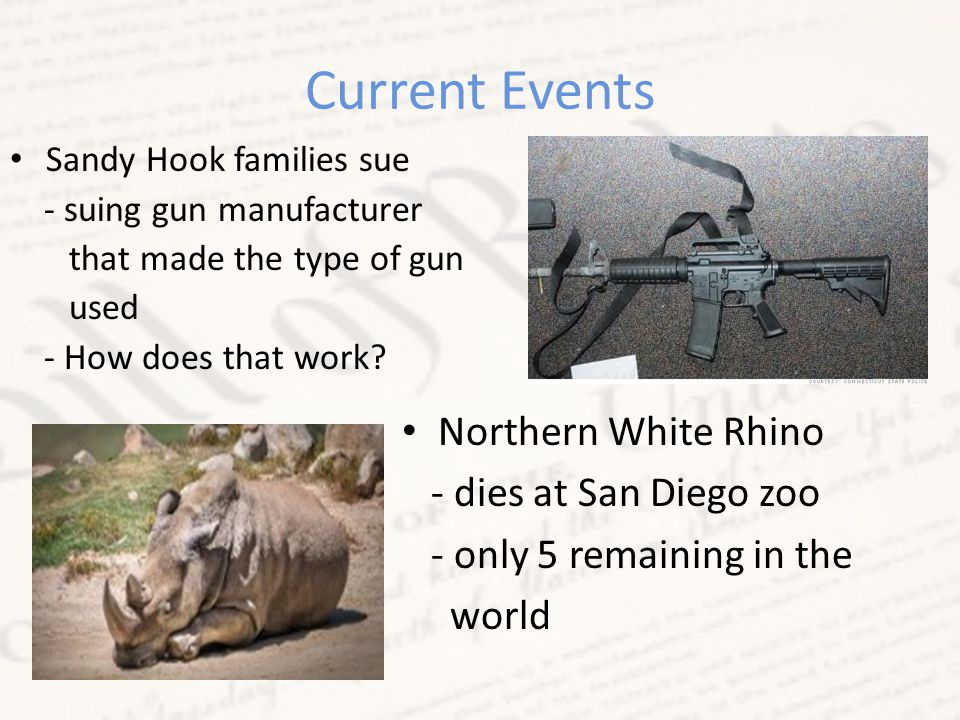 Current Events Sandy Hook families sue - suing gun manufacturer that made the type of gun used - How does that work.