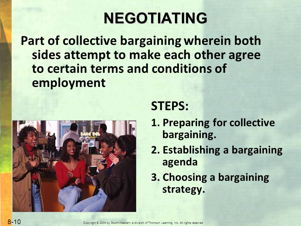Copyright © 2004 by South-Western, a division of Thomson Learning, Inc. All rights reserved. 8-10 NEGOTIATING Part of collective bargaining wherein bo