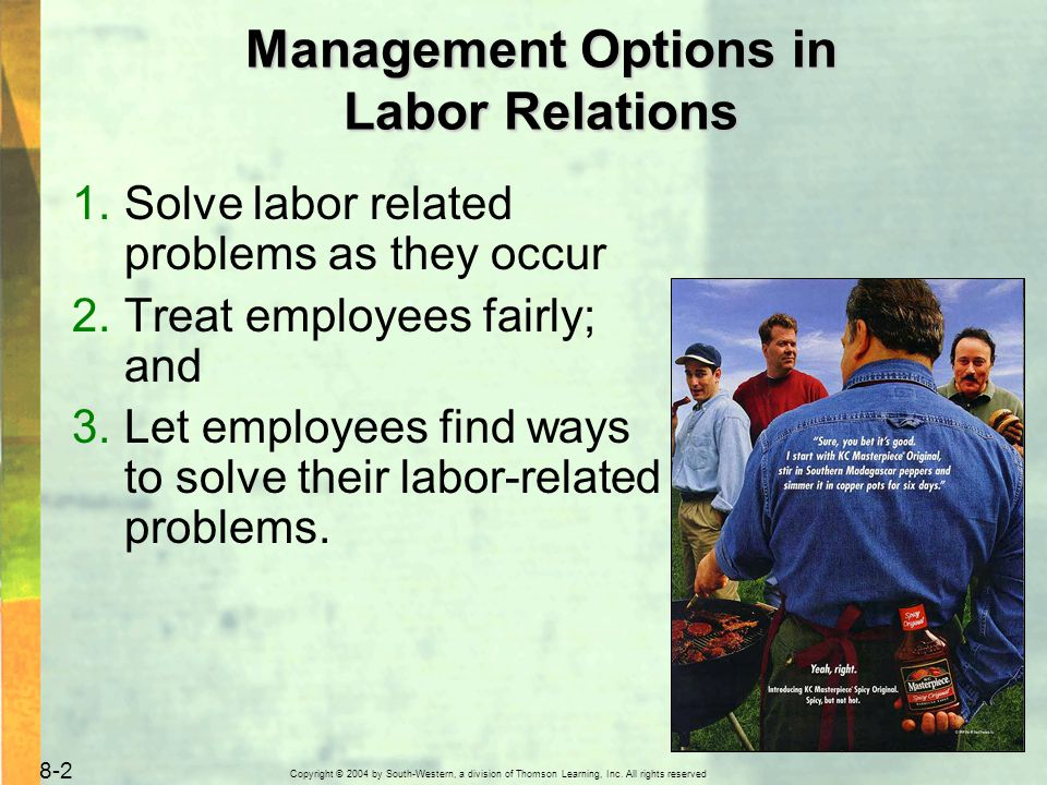 Copyright © 2004 by South-Western, a division of Thomson Learning, Inc. All rights reserved. 8-2 Management Options in Labor Relations 1.Solve labor r