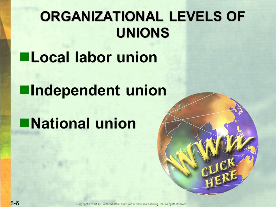 Copyright © 2004 by South-Western, a division of Thomson Learning, Inc. All rights reserved. 8-6 Local labor union Independent union National union OR