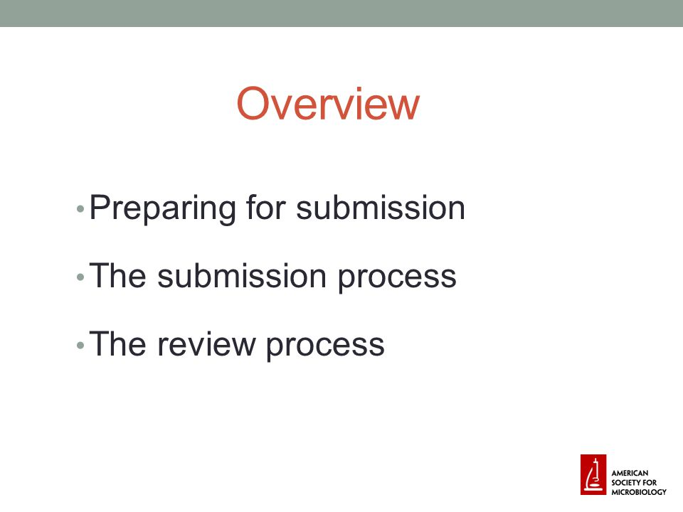 Overview Preparing for submission The submission process The review process