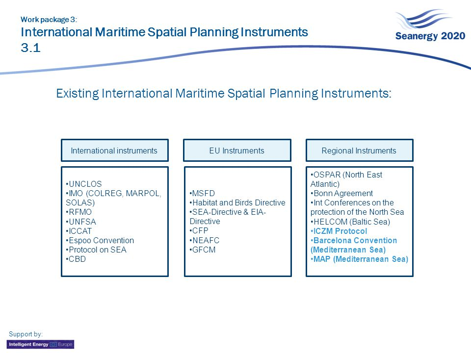 Support by: Existing International Maritime Spatial Planning Instruments: Work package 3: International Maritime Spatial Planning Instruments 3.1 International instruments UNCLOS IMO (COLREG, MARPOL, SOLAS) RFMO UNFSA ICCAT Espoo Convention Protocol on SEA CBD EU Instruments MSFD Habitat and Birds Directive SEA-Directive & EIA- Directive CFP NEAFC GFCM Regional Instruments OSPAR (North East Atlantic) Bonn Agreement Int Conferences on the protection of the North Sea HELCOM (Baltic Sea) ICZM Protocol Barcelona Convention (Mediterranean Sea) MAP (Mediterranean Sea)