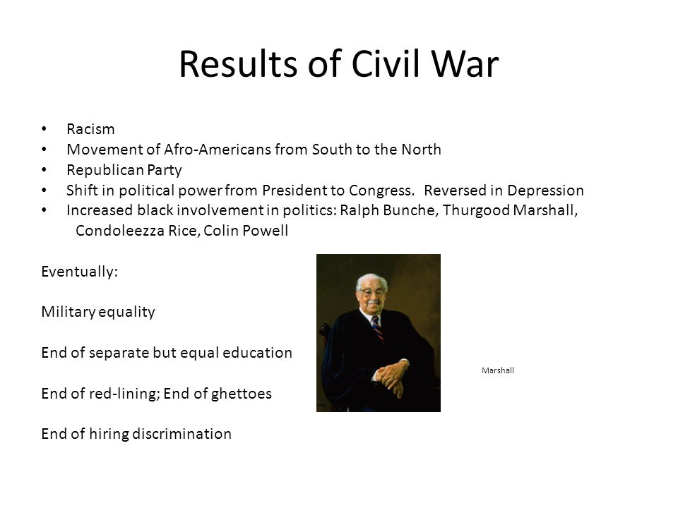 Results of Civil War Racism Movement of Afro-Americans from South to the North Republican Party Shift in political power from President to Congress.