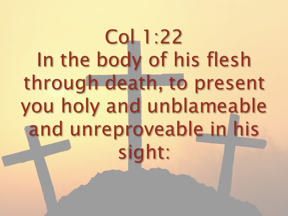 Col 1:22 In the body of his flesh through death, to present you holy and unblameable and unreproveable in his sight: